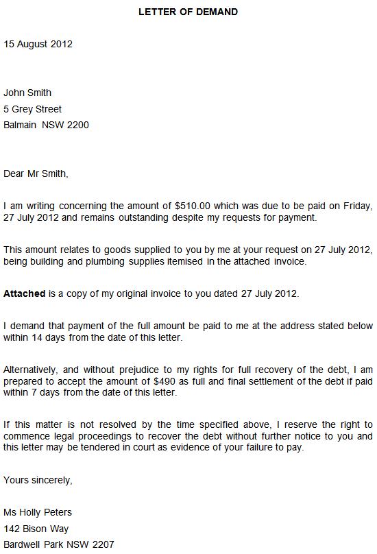 Fair Debt Collection Demand Letter