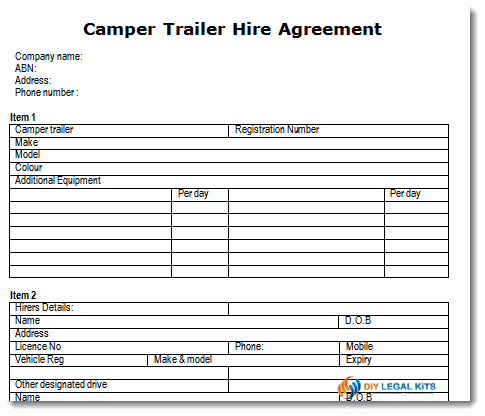 Camper Trailer Hire Or Rental Agreement Template