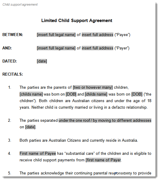 Child support agreement template to document arrangements for Technical support agreement template