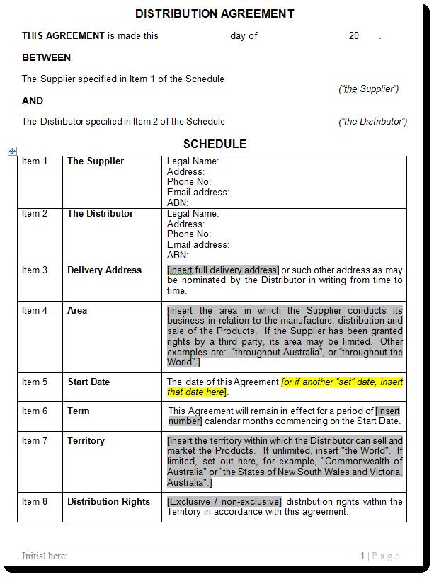 Distribution Agreement Distributor Contract Template