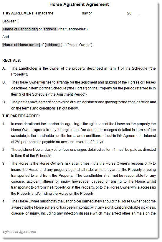 Horse Equine Agistment Agreement Contract