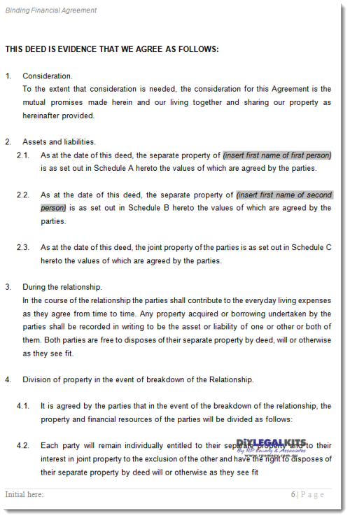 Binding Financial Separation Agreement Template  By BK