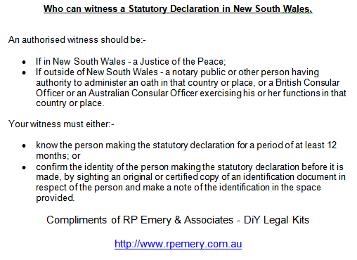 How to complete australian statutory declarations witness information for nsw statutory declaration altavistaventures Image collections