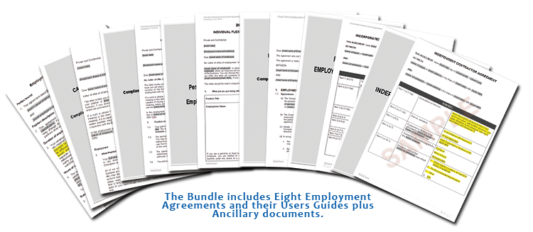 Bundle contains eight employment contracts, their Users Guide and ancillary documents