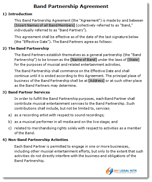 Band Partnership Agreement Contract Template available immediately
