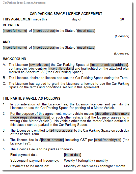 Car parking space licence lease agreement storage space agreement excerpt maxwellsz