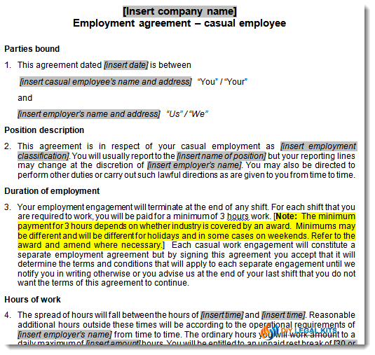 Draft Contract Of Employment Sample Roho4senses
