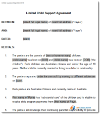 limited child support agreement