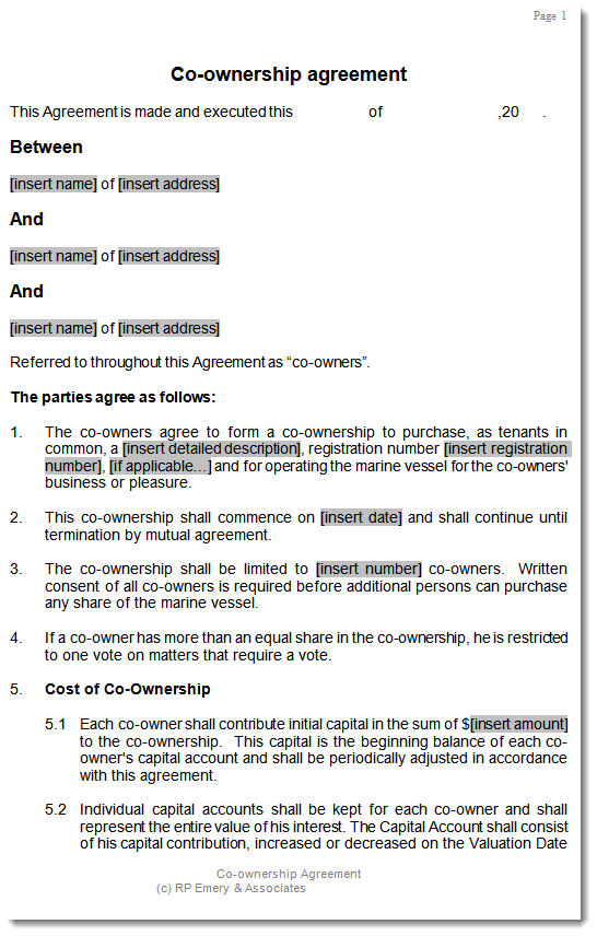 co ownership agreement template for aircraft or boat With boat partnership agreement template