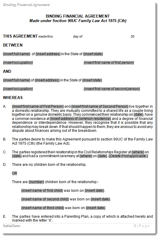 Cohabitation Agreement template for De Facto couples – Sample Cohabitation Agreement Template