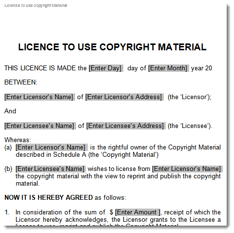 Licence To Use Copyright Material Agreement