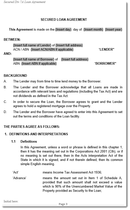Division 7A company loan agreement template