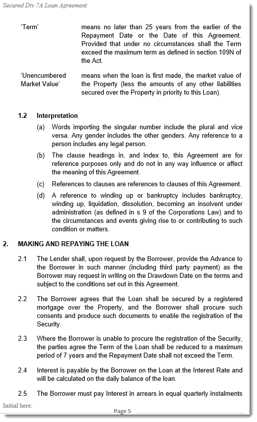 Div 7A Loan Agreement Sample Div 7a Loan Agreement