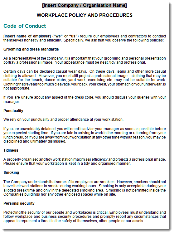 employment policy sample page