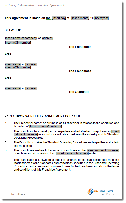 Franchise Agreement Template for Australian Franchises – Sample Franchise Agreements
