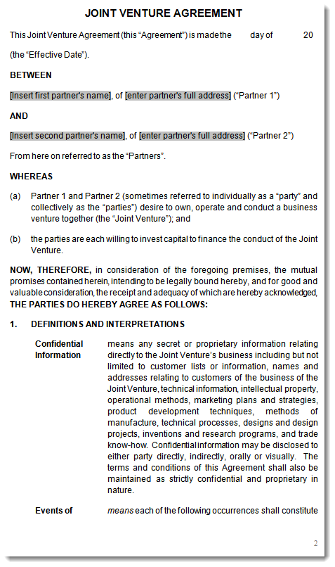 Joint venture agreement contract template – Joint Venture Agreements Sample
