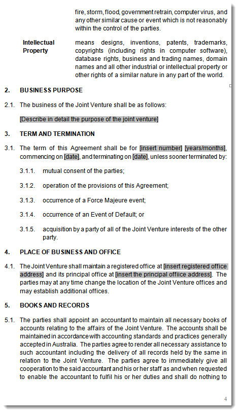 Joint venture agreement contract template – Joint Venture Sample