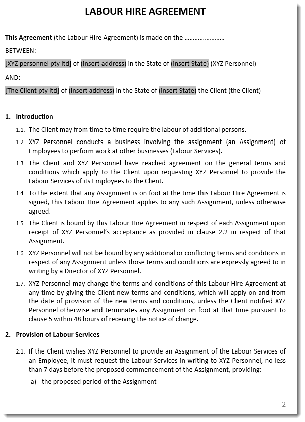 labour hire agreement template sample