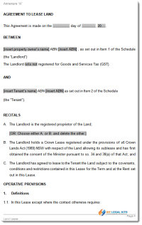 Land Lease Agreement Sample