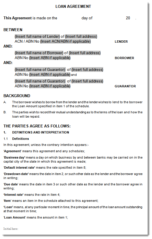 Unsecured Loan Agreement Sample ...  Personal Loan Agreement Template Microsoft Word