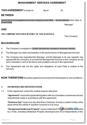 Management Service Agreement Sample