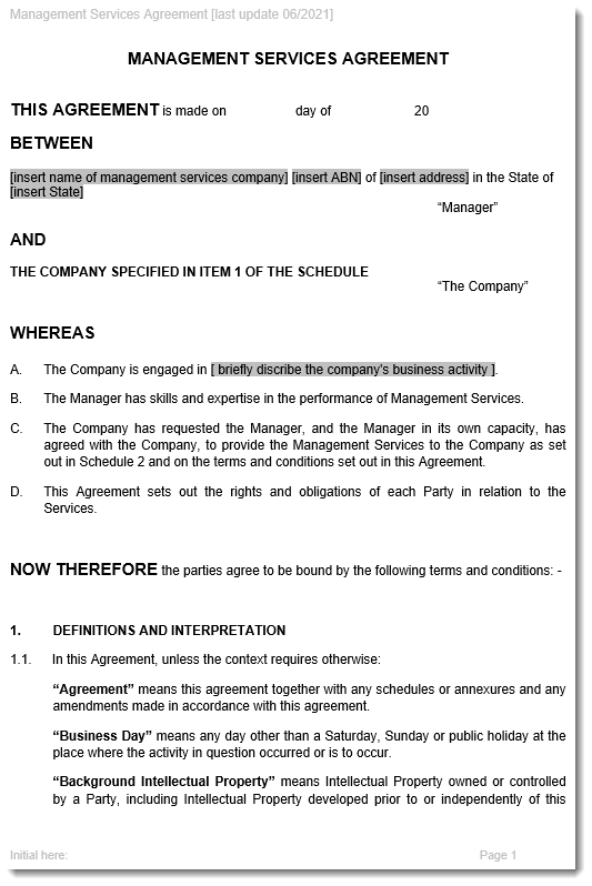 Management Service Agreement Sample ...