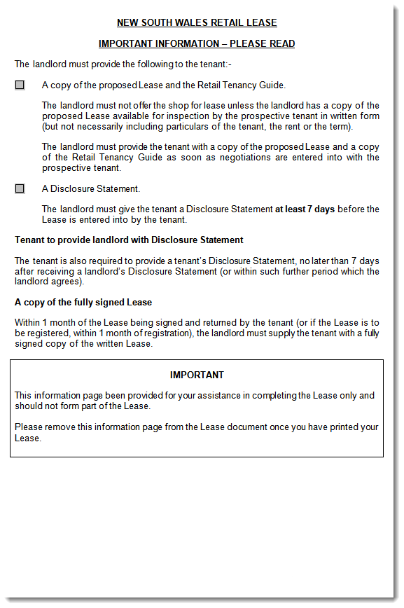 australian retail lease forms