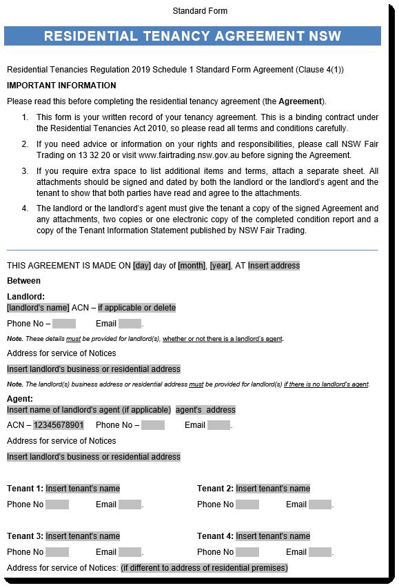 NSW Tenancy Agreement Sample 1 ...