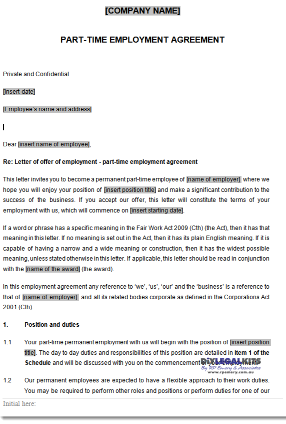 Part time employment contracts template for Permanent contract of employment template