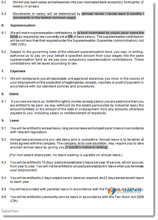 part time employment contracts template – Standard Employment Agreement