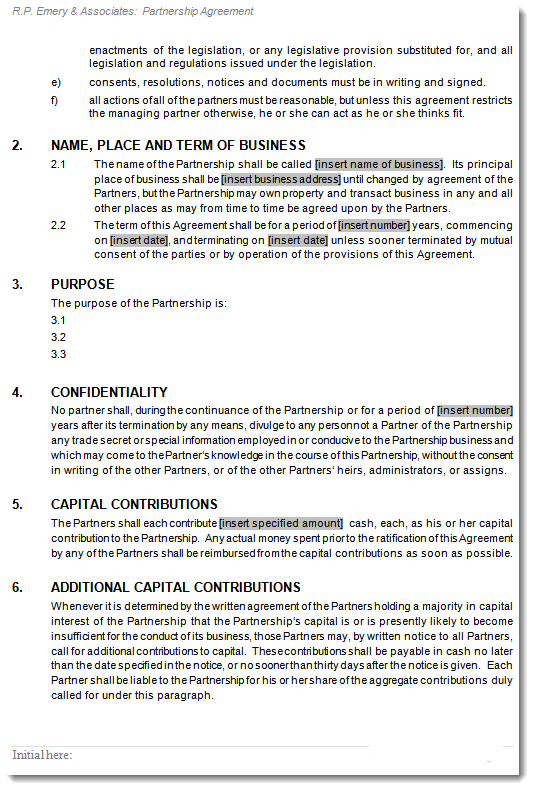 boat partnership agreement template - general partnership agreement deed of partnership contract