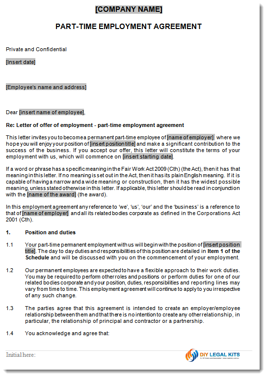 part time employment contract template free - part time employment contract samples