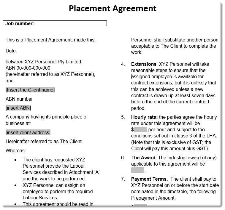 placement agreement Sample Template