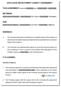 Recruitment Agreement Sample 1