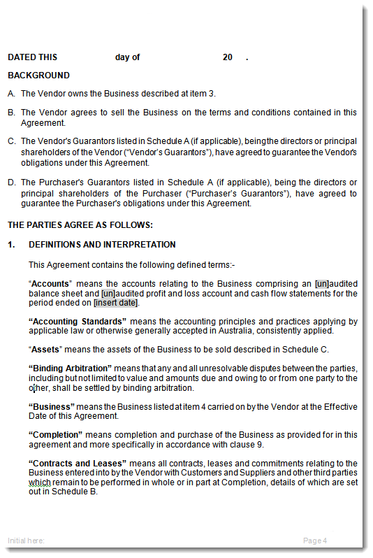 Contract for the Sale of Business Purchase Agreement Template