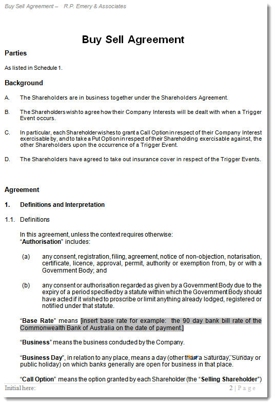 Shareholder buy sell agreement buy out contract for Shareholder buyout agreement template