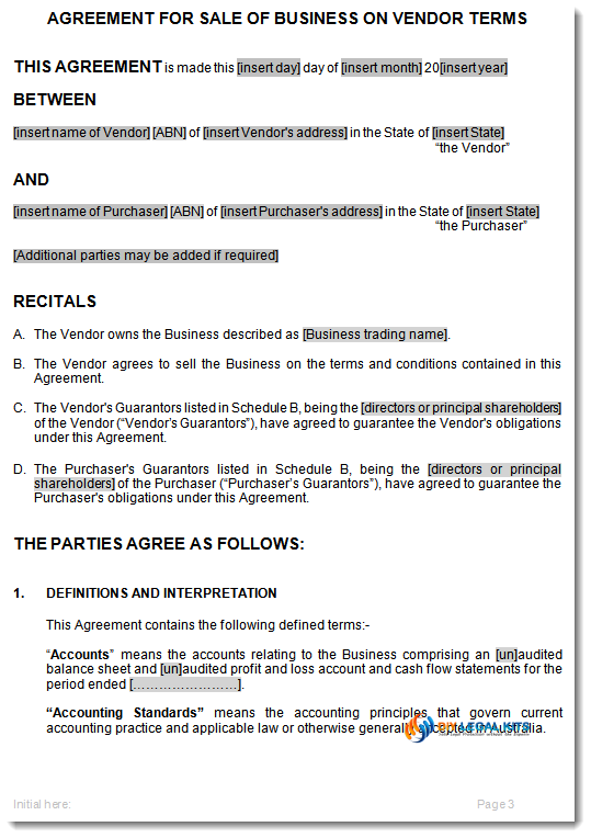 Sample Document 1 Sale Of Business Vendor Terms ...  Business Sale Contract Template