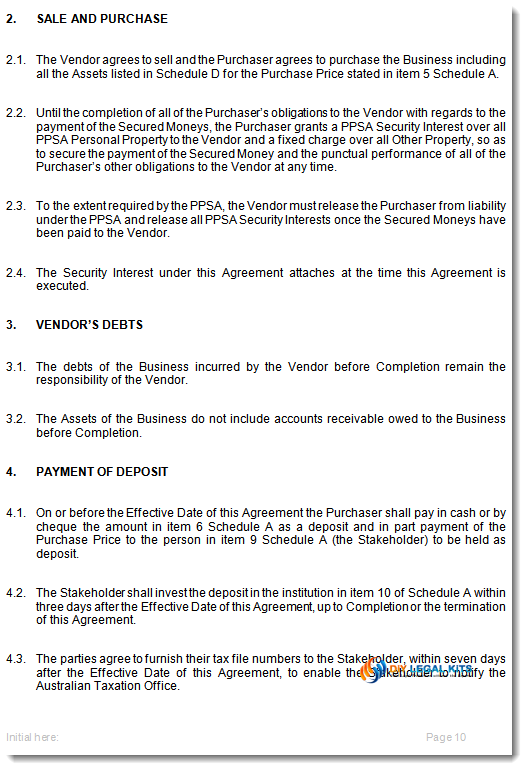 Purchase And Sale Of Business Agreement | Sale Of Business On Vendors Terms Agreement Template