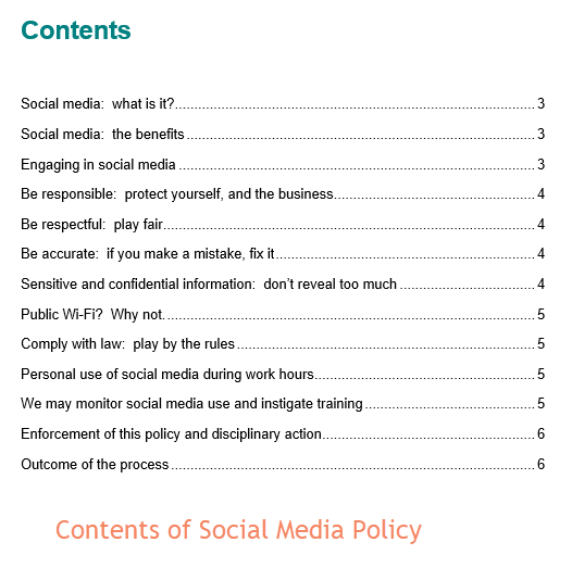 Social Media Policy Contents
