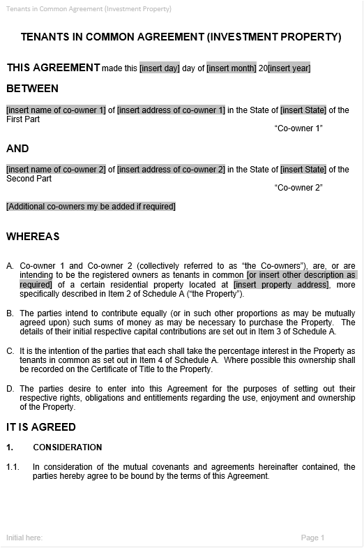 Tenants in common agreement template to manage joint ownership sample document excerpt pronofoot35fo Image collections