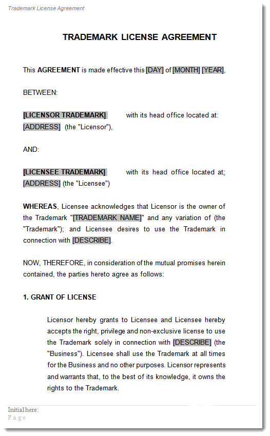 Sample Trademark License Agreement ...