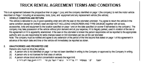 Truck Rental Hire Agreement Template