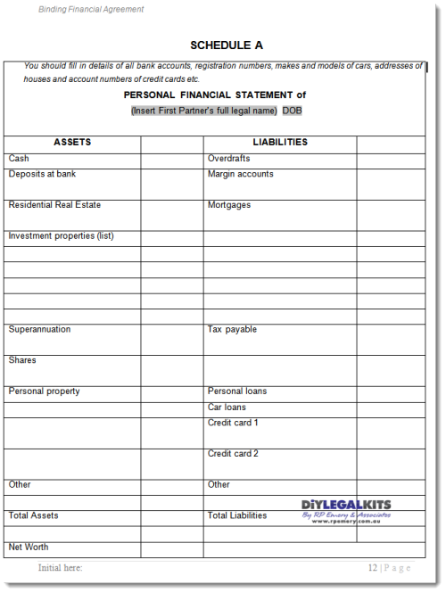 financial Agreement Western Australia Sample Page