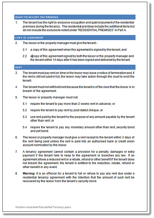 Wa 2013 rental agreement residential tenancy lease click through for enlarged sample of this wa residential tenancy lease platinumwayz